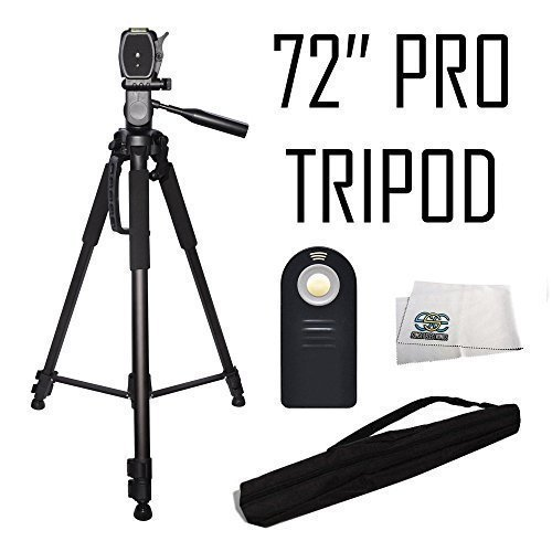 I3ePro Professional 72-inch Tripod 3-way Panhead Tilt Motion with Built In Bubble Leveling + Wireless IR Remote Control Shutter Release for Canon EOS 70D