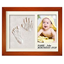 Baby Hand Print & Foot Print Picture Frame Kit for Boy and Girls - Baby Shower Gift for Baptism Registry Party - Natural Wood Frame - Handmade Safe Clay - Family Keepsake Wall Decoration Table Decor - Present for Pregnant Mother