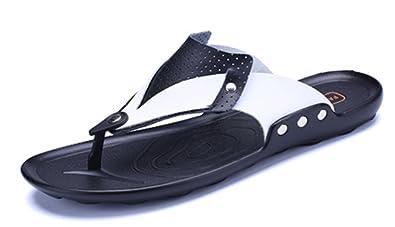 0c9a8e464261 TDA Men s Slip-on Breathable Mesh Black Leather Summer Slippers Casual  Beach Flip Flops 5