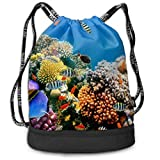 Zol1Q Men & Women Waterproof Large Storage Drawstring Backpack - Tropical Fish On A Coral Reef Cinch Backpack Sackpack Tote Sack for Gym Hiking School