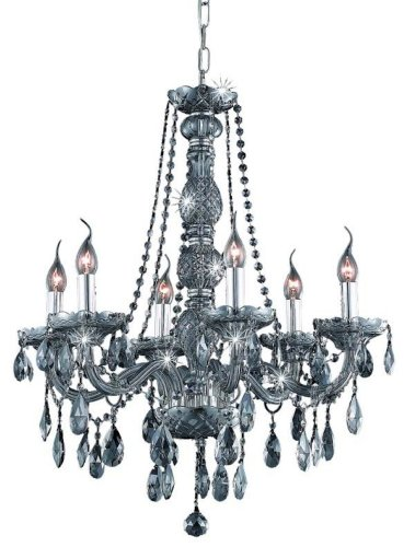 (Elegant Lighting 7956D24SS-SS/RC Verona 28-Inch High 6-Light Chandelier, Silver Shade Finish with Silver Shade (Grey) Royal Cut RC)