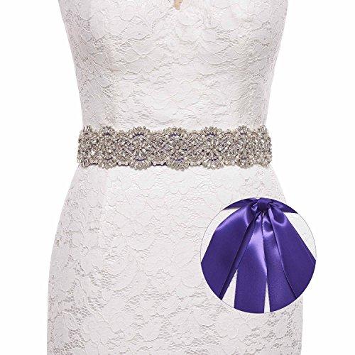 Sisjuly Luxury Handmade Crystal Rhinestone Wedding Sash Belt for Prom Evening Dresses Purple
