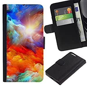 KLONGSHOP // Tirón de la caja Cartera de cuero con ranuras para tarjetas - Dios Majestic Nubes Sun sueño - Apple Iphone 6 PLUS 5.5 //