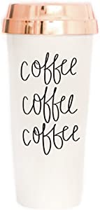Sweet Water Decor Travel Mug Coffee Lover Plastic Insulated Travel Mug with Gold Lid Gift Cute Accessories for Women Commuter Tumbler Novelty Travel Mug Hot Tea (Coffee Coffee Coffee)