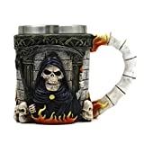 Qpika Glass Bottle, 3D Coffee Mug Resin Tankard Viking Skull Death Double Wall Christmas Cup (Multicolor)