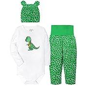 HONGLIN Baby Boys' 3 Piece Bodysuit, Cap and Pant Set Unisex Gift Set Dinosaur