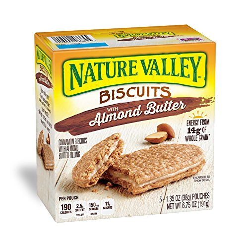 (Nature Valley Biscuits, Almond Butter, Breakfast Biscuits with Nut Filling, 5 Count, Pack of 12)