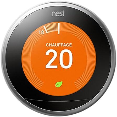 Nest Learning Thermostat 3rd gen. - Termostato inteligente (Acero inoxidable, Analógico, 53 x 53 mm, lithium-ion) Edición Francesa