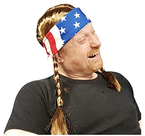 Willie Braided Wig with USA Bandana - Hillbilly Country Red Neck Cowboy Costume -
