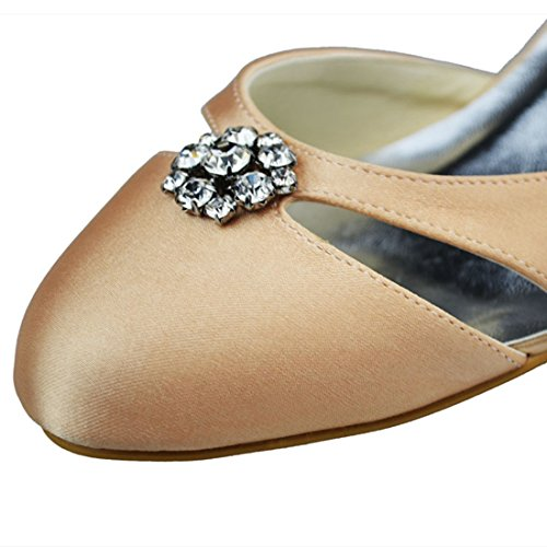 Minishion Wedding Toe Strappy Womens Evening Pumps Heel Party Satin Champagne Rhinestone 5cm Bridal Almond pSprq