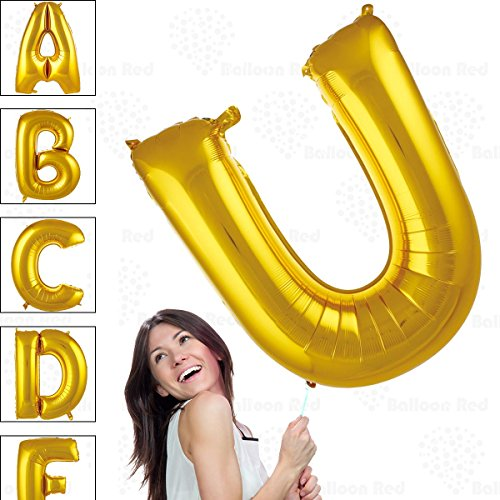 40 Inch Giant Jumbo Helium Glossy Gold Foil Mylar Balloons for Party Decorations, Letter U – Premium Quality, Durable & Reusable – Custom Messages – Graduation, Birthday, Anniversary, Bridal Shower -