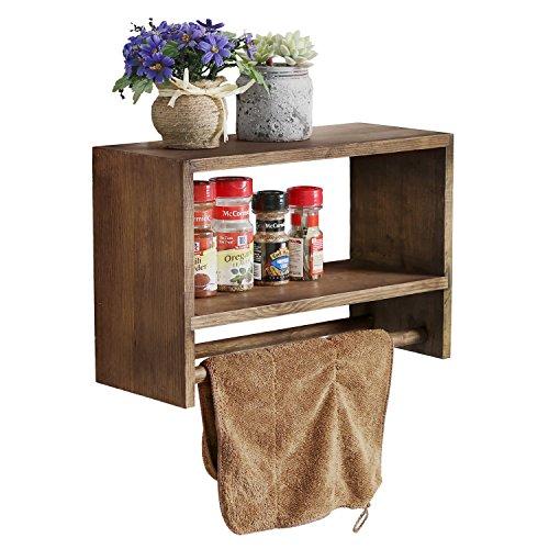 Montado en la pared madera–Especiero rústico, cocina flotante estante con toallero de barra doble