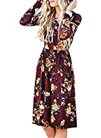 Women Long Sleeve Floral Printed Dresses Ladies Loose Fitted Dresses Pleated Casual Midi Dress With Pockets