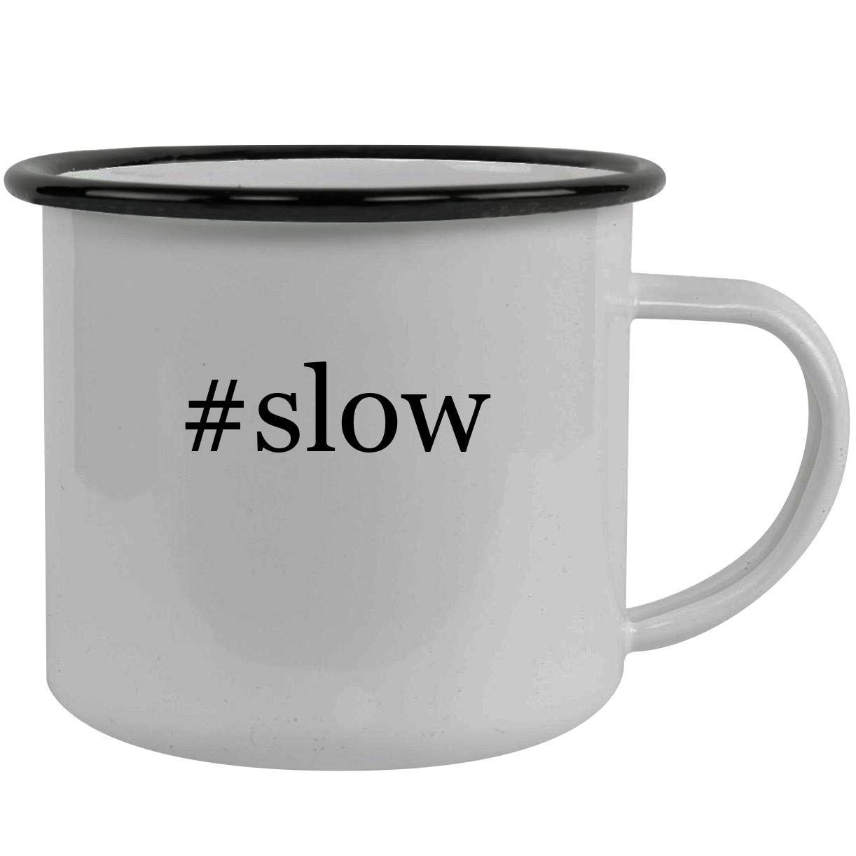 #slow - Stainless Steel Hashtag 12oz Camping Mug, Black