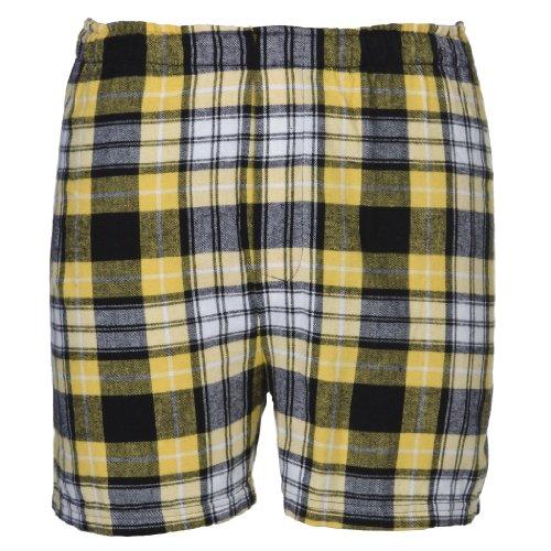 Boxercraft Cotton Flannel Plaid Boxer Sleep Shorts, L, Black/Gold-UNISEX SIZE