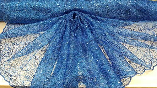 Royal Blue Spider Web Embroidered lace Sequin Geometric Prom Fabric Sold by The Yard Gown Quinceañera Bridal Evening Dress Decoration