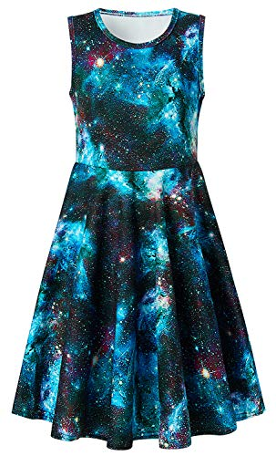 Starry Night Dress for Girls, Active Primary School Girl1's Star Swing Sleeveless Fatty Dress for Vacation Holiday Trip Size 7-16 (XL,Galaxy)]()