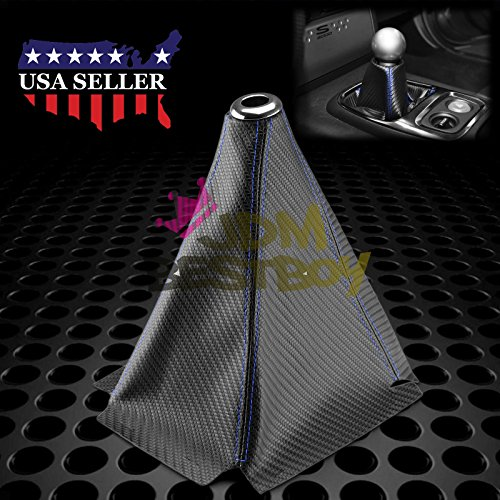JDMBESTBOY Universal Shift Knob Shifter Boot Cover Carbon Fiber Style Black with Blue Stitches PVC Leather MT at Sport PVC Leather