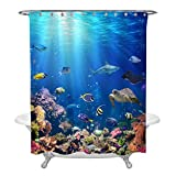 Fabric Shower Curtains with Fish Underwater Scene with Coral Reef and Tropical Fish Shower Curtain Set for Ocean Themed Bathroom Decorations, Realistic Marine Wildlife Bathtub Accessories, Heavy Duty Fabric 72 W x 72 L, Blue