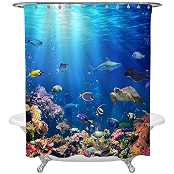 MitoVilla Underwater Scene with Coral Reef and Tropical Fish Shower Curtain Set for Ocean Themed Bathroom Decorations, Realistic Marine Wildlife Bathtub Accessories, Heavy Duty Fabric 72 x 72, Blue
