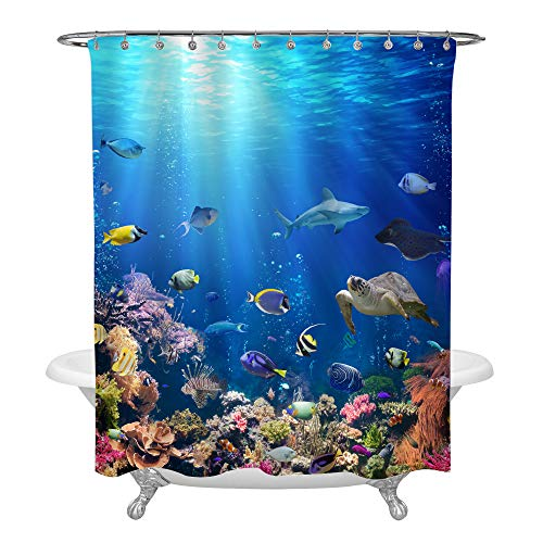 Underwater Scene with Coral Reef and Tropical Fish Shower Curtain Set for Ocean Themed Bathroom Decorations, Realistic Marine Wildlife Bathtub Accessories, Heavy Duty Fabric 72 W x 78 L, Blue