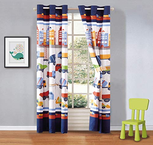 Mk Home 2 Panel Curtain Set with Grommet for Boys Trucks Construction Tractors Blue Red Yellow White New