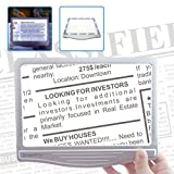 MagniPros 3X Ultra Slim & Lightweight Page Magnifier with 12 Anti-Glare Dimmable LED Lights(Provide More Evenly Lit Area & Relieve Eye Strain)-Large Viewing Area Magnifies up to 300%