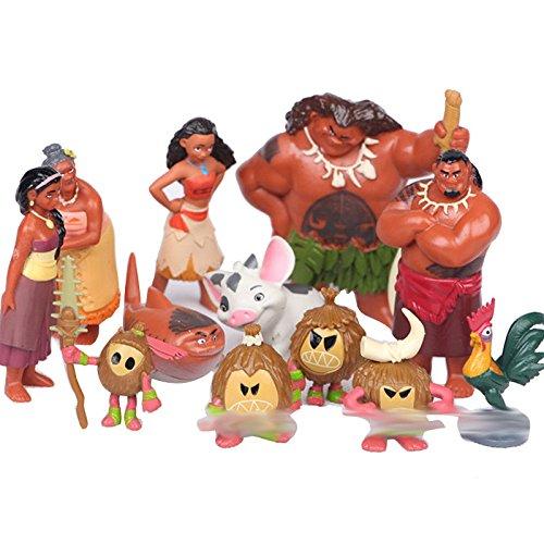 tongrou 12pcs Oceania Adventure Moana Maui Action Figures PVC Doll Toys Decor Set
