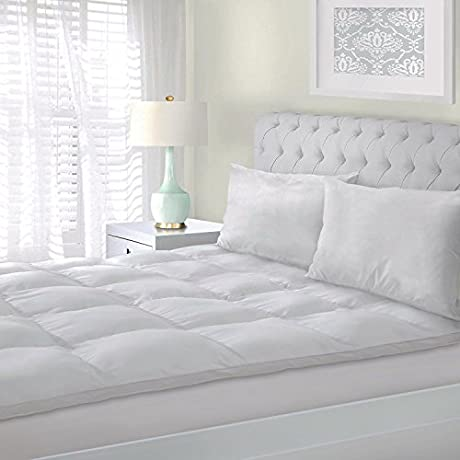 Bed Mattress Topper Emolli Hypoallergenic White Down Alternative Bed Mattress Pad Plush Overfilled 1 18 Height Full Size