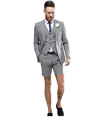 One Botton Men S Grey 3 Pieces Summer Wedding Suits Business Men