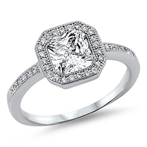 Womens Cubic Zirconia Accent - Halo Wedding Engagement Ring Princess Cut Square Round Cubic Zirconia Accent 925 Sterling Silver