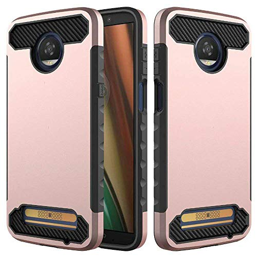 Moto Z3 Play Case, Carbon Fiber Slim Trim Duarable Cases Air Cushion Tecnology TPU Impact Silicone Protective for Moto Z3 Play (Rose Gold)