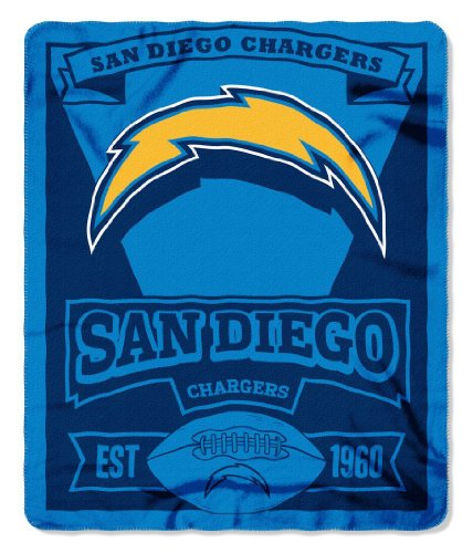 NFL San Diego Chargers Marque Printed Fleece Throw, 50-inch