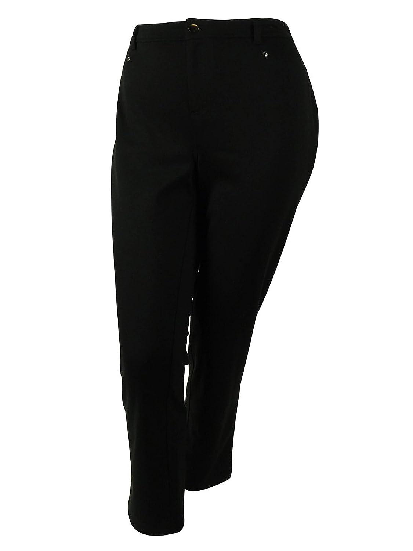 JM Collection Women's Slim-Leg Pants (22W, Deep Black)