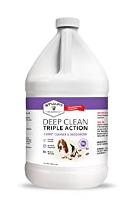 Professional Strength Deep Clean - Triple Action Carpet Cleaner Solution & Deodorizer | Concentrated Encapsulating Carpet Shampoo | Miracle Pet Stain | Odor & Dirty Carpet Cleaning Formula (1 Gallon)