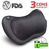 YOUKADA Cordless Back Neck Massager Deep Kneading Shiatsu Massage Pillow Adjustable Intensity with Heat for Body Lower Back Shoulder Pain Relief, Best Gift for Dad/Mom/Friends, 2-Year Warranty