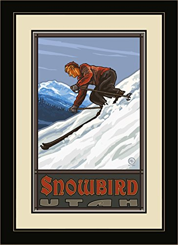 Northwest Art Mall PAL-0277 MFGDM DSM Snowbird Utah Downhill Skier Man Framed Wall Art by Artist Paul A.Lanquist, 13 by - Snowbird Destinations