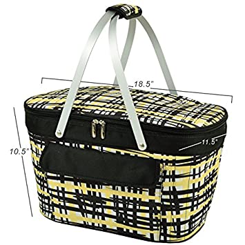 Picnic at Ascot Large Family Size Insulated Folding Collapsible Picnic Basket Cooler with Sewn in Frame Paris