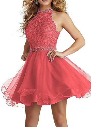 Formal High Lace Neck Party with Prom Coral Belt Short Homecoming BRL MALL Gowns Beaded Dresses BRL41 0w5qRzx8E