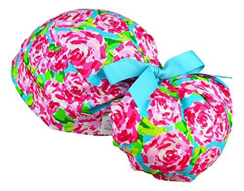 Womens Ponytail Surgical Scrub Hat Adjustable Large (Blush ()