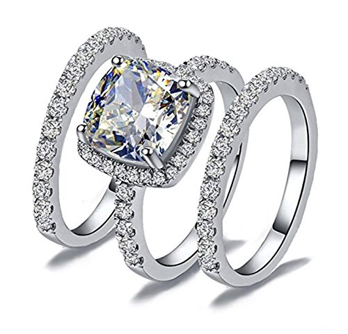 TOP GRADE 2 CARAT RADIANT PRINCESS CUSHION CUT SONA NSCD SIlMULATED DIAMOND RING BAND SET 3 PIECES