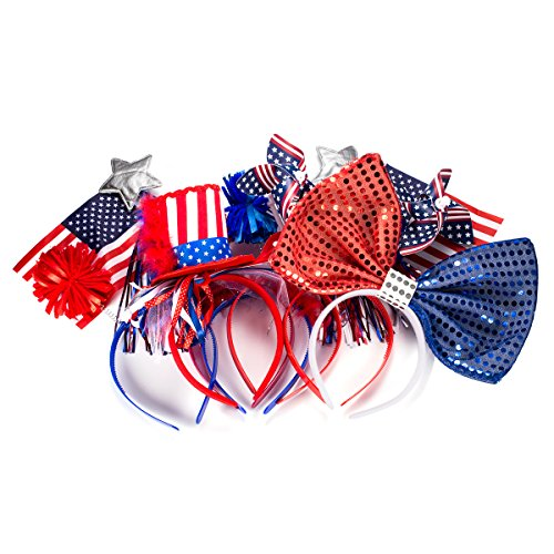 Olympics Themed Party Costumes (Fourth Of July Head Band bopper Patriotic Star Red White and Blue Headbands For Kids Women Man Party Supplies)