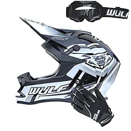 47-48cm Wulf WulfSports Kids Cub Vantage Motocross Cub MX Off Road Helmet Cub Stratos Gloves /& Abstract Goggles Red S