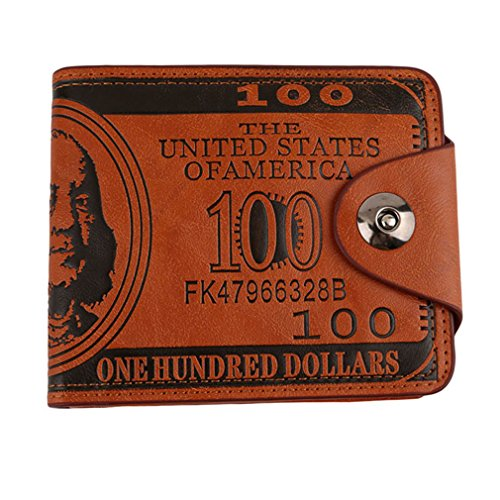 HENGSONG Men US Dollar Bill Wallet PU Leather Credit Card Photo Holder Bifold Billfold With Buttons (Brown) Bill Holder Wallet