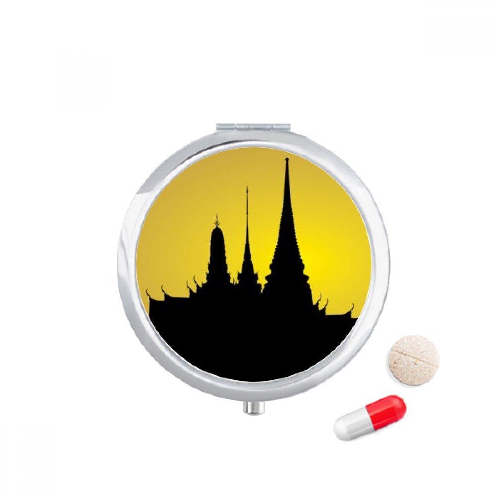 Thai Customs Culture Shadow Temple Travel Pocket Pill case Medicine Drug Storage Box Dispenser Mirror Gift by DIYthinker