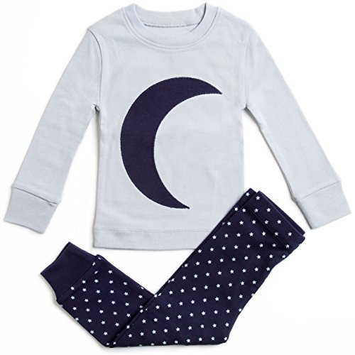 Bluenido Boys Pajamas Moon Stars 2 Piece 100% Super Soft Cotton (12m-8y)
