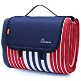 WolfWise 79'x79' XXL Picnic Blanket Extra Large Fleece Beach Mat with Waterproof Backing Anti Sand, Red Blue Stripes