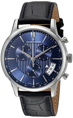 Claude Bernard Men s 01002 3 BUIN Classic Chronograph Analog Display Swiss  Quartz Black Watch 9aa372fa48f