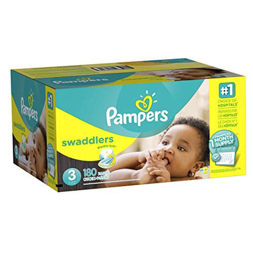 : Pampers Swaddlers Disposable Diapers Size 3, 180 Count, ONE MONTH SUPPLY