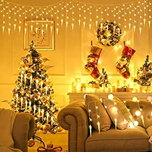 ALBERTU 400 led Christmas String Lights, Waterproof Icicle Fairy Lights, Pulg-in Curtain 8 Mode Fairy Lights for…